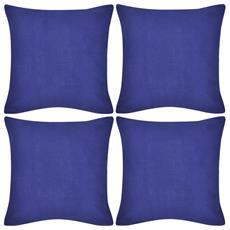 Set 4 Federe In Cotone Blu 40 X 40 Cm
