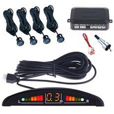 Kit 4 Sensori Di Parcheggio Per Auto Con Display Led Acustico Neri