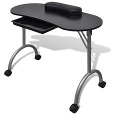 Tavolo manicure nero con rotelle Dimensioni 90 x 37 x 68 cm