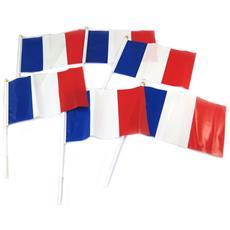 set di 6 bandierine 'francia dovervi' rosso blu bianco - 245x15 cm - [ p2167]