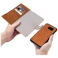 Custodia Galaxy S7 Edge Portafoglio Portacarte Cover Amovibile Forcell - Camel