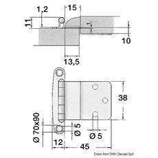 Cerniera inox con sbalzo 57x44 mm