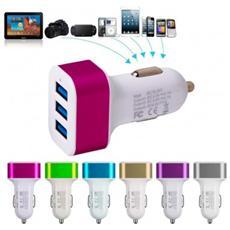 Presa Accendisigari 3 Porte Usb Caricatore Smartphone Fotocamera Pc Da Auto - Celeste
