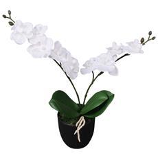 Orchidea Artificiale Con Vaso 30 Cm Bianca