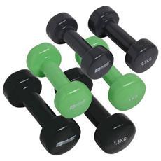 Set Manubri per Ginnastica 0.5 Kg / 1 Kg / 1.5 Kg Colore Nero / Verde 6 Pezzi