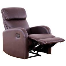 Poltrona relax Camilla Marrone con reclinazione manuale e poggiapiedi