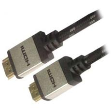 Cavo ADJ AV HDMIHDMI 2.0 4K, MM 2 m Col. Nero / silver rivestimento in nylon e connettori in metallo