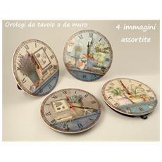 Orologio Ceramica Tondo Fiori (4disass)