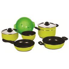 Pentole Batteria Da 9 Pezzi Greenalime 22 - Ideale Per Campeggio Camper - Rivestimento Antiaderente Per Alimenti