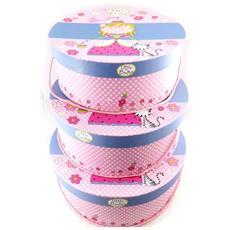 set di 3 cappelliere 'little princess' rosa blu - [ j4385]