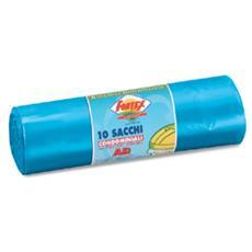10 sacchi immondizia 70x110cm 120lt hd 16µ azzurro logex