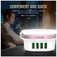 A4406 4 Port Usb Universal Travel Eu Adapter Led Touch Night Lamp