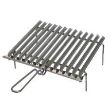 Griglia in acciaio sagomato graticola con manico da campeggio 60x40xh10 cm