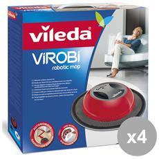 Set 4 Scopa Virobi Robot Catturapolvere Attrezzi Pulizie