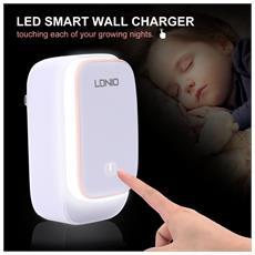 Madprice - Ldnio A2205 Dual Usb Wall Charger 2.4a Con Luce A Led Adattatore Eu Caricatore Per Iphone Ipad Samsung