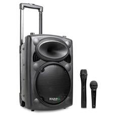 Cassa amplificata attiva 500 Watt 10'' Trolley, ricaricabile, Bluetooth, radio, microfono Wireless, microfono con filo