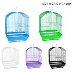 189078 Gabbia Per Uccelli 43.5x28.5x22 Di Piccole Dimensioni Mangiatoie Incluse - Azzurro