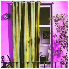 Tenda da sole per portoni e balconi in cotone cm 140x250 bianco giallo