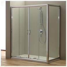 Porta nicchia doccia 180 cm modello Giada con porta fissa 80 cm Cristallo trasparente