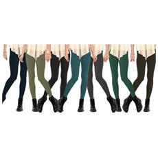 Set 12 Leggings In Vari Colori Donna Effetto Termico Interno Felpato Elasticizzato Collant Winter