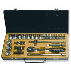 Cassetta Metal Kit Attrezzi 25 Bussole Esagonali 1/2 Mm 8-32 Cricchetto Professionali