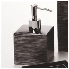 Dispenser Sapone Nero Con Righe Argento - Serie Cube
