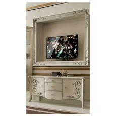 Porta Tv + Mobile Tv Sospeso In Legno - Bombato Con Intarsio L 166 P 44 H 68 - L 144 P 30 H 110