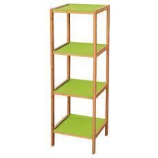 Scaffale in legno con 4 rapiani colore verde Cm 34x33xH 110