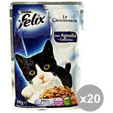 Set 20 Le Ghiottonerie Agnello 100 Gr. Bustina Cibo Per Gatti
