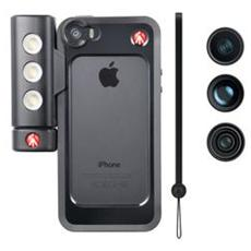 Kit per iPhone 5/5s con Tre Lenti + Luce Led + Bumper - Nero
