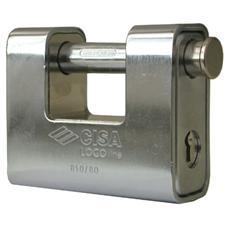 Lucchetto monoblocco in ottone con arco in acciaio cementato mm 80
