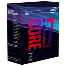 Processore Core i7-8700K (Coffee Lake-S) Hexa-Core 3.7 GHz Socket LGA 1151 Boxato Moltiplicatore Sbloccato