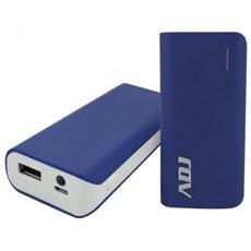 Zeus Power Bank ADJ 5600mAh per ricaricare diversi tipi di periferiche dotate di porta USB con cavo micro USB 5V / 1A incluso Pro Series Col. Blu