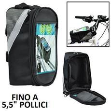 Supporto Bici Universale Per Dispositivi Fino A 5,5 Pollici Con Tasca Porta Oggetti E Fissaggio A Strap Colore Nero