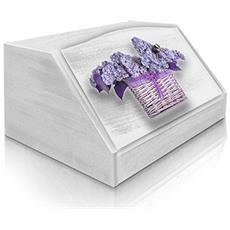 Portapane Con Decoro In 'flower Violet' In Legno White Dalle Dimensioni Di 30x40x20 Cm