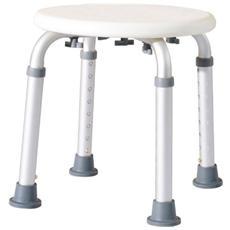 Sgabellino da doccia sedile da bagno ausilio rotondo altezza regolabile 8 posizioni antiscivolo