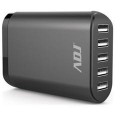 Alimentatore universale per Tablet / smartphone ADJ casa / ufficio ADJ AI05 mantiene il voltaggio costante e consente di ricaricare 5 dispositivi contemporaneamente Col. Nero