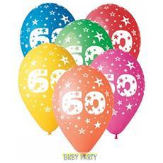 12 Palloncini In Lattice Colorati 60° Compleanno