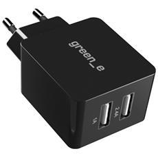 Caricabatterie + Cavo Usb-c 1.3m 2x Porte Usb Universale 2.4a+1a Green e Nero