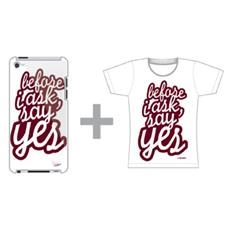 "T-Shirt ""BEFORE I ASK SAY YES"" iPhone Female L, Bianco / Rosso"