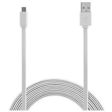 Micro USB to USB cable 1,5m Flat - White