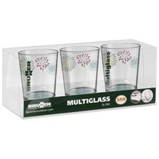 Belfiore Set Da 3 Bicchieri Di Vetrio (taglia Unica) (multicolore)