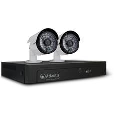 Kit Videosorveglianza A11-NVR04-P-KIT Registratore Digitale 4 Canali PoE e 2 Videocamere 1 MP
