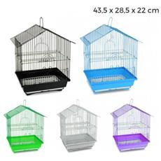 189085 Gabbia Per Uccelli Di Piccole Dimensioni Bird 43.5x28.5x22 Cm Mangiatoie - Azzurro