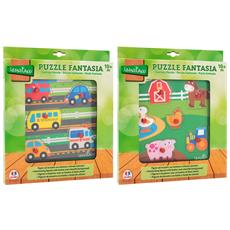 Wooden Puzzle W / buttons Cm21,5x21,5x0,7 2asstd (38293), Multicolore (1)