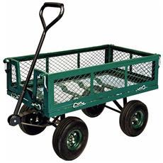 Carrello Carretto per Giardino con laterali abbattibili carico max 400 Kg
