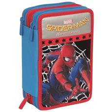 Astuccio Completo 3 Zip Spiderman Accessoriato Bambini Scuola