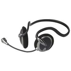 Stereo PC Backheadset ADJ color Nero / Grigio Office Series con microfono flessibile e controllo volume con Jack Stereo 3.5mm e cavo della lunghezza 2.2 m