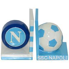 Ssc Calcio Napoli Coppia Ferma Libri In Ceramica Con Mascotte E Logo