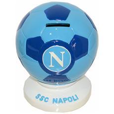 Ssc Calcio Napoli Salvadanaio In Ceramica Pallone Azzurro
